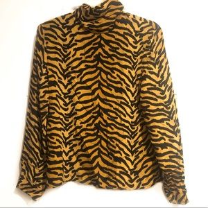 Vintage 100% Silk Tiger Print Mock Neck Blouse